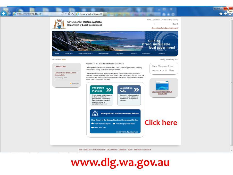  Click here www.dlg.wa.gov.au