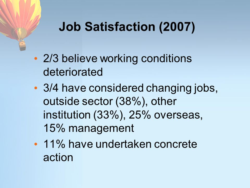 Job Satisfaction (2007) 2/3 believe working conditions deteriorated 3/4 have considered changing jobs, outside sector (38%), other institution (33%), 25% overseas, 15% management 11% have undertaken concrete action