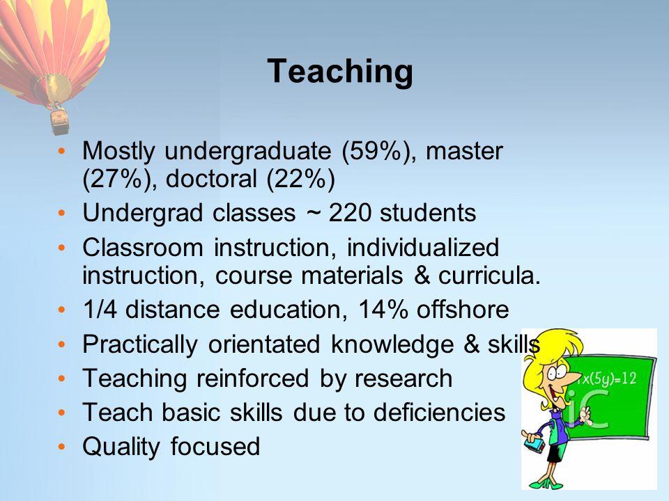Teaching Mostly undergraduate (59%), master (27%), doctoral (22%) Undergrad classes ~ 220 students Classroom instruction, individualized instruction,