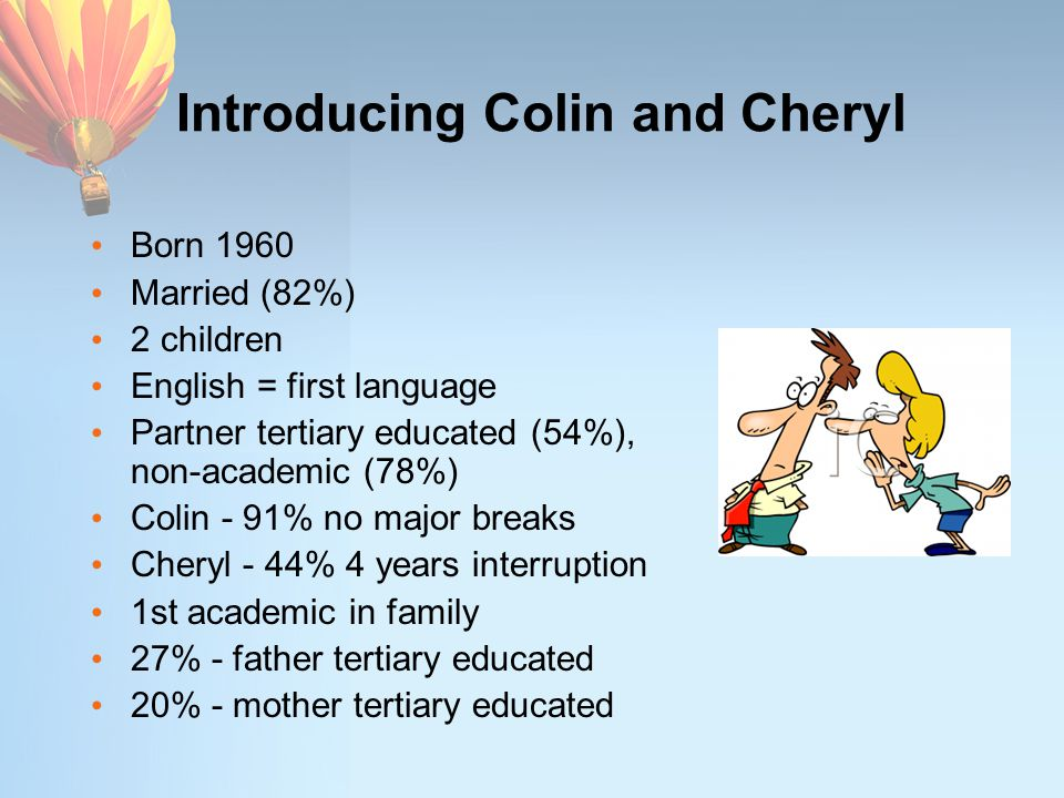 Introducing Colin and Cheryl Born 1960 Married (82%) 2 children English = first language Partner tertiary educated (54%), non-academic (78%) Colin - 9