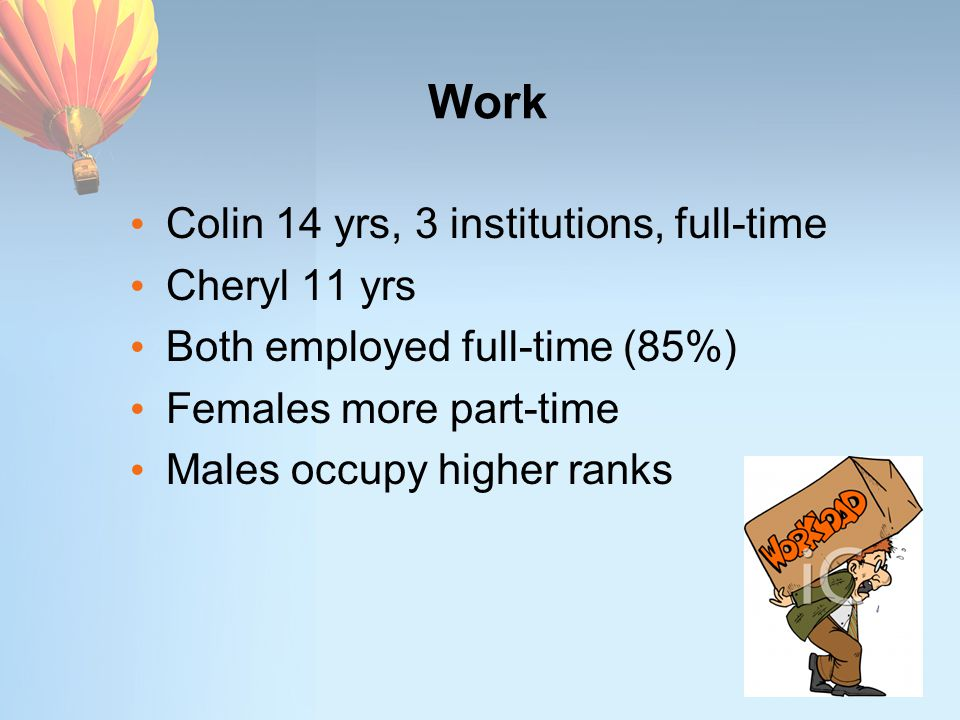 Work Colin 14 yrs, 3 institutions, full-time Cheryl 11 yrs Both employed full-time (85%) Females more part-time Males occupy higher ranks