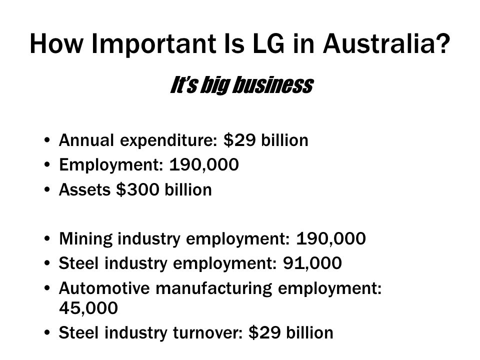 How Important Is LG in Australia.