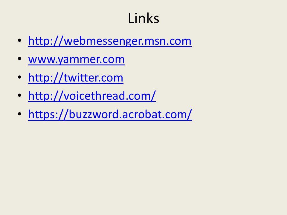 Links http://webmessenger.msn.com www.yammer.com http://twitter.com http://voicethread.com/ https://buzzword.acrobat.com/