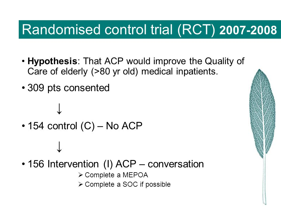 Randomised control trial (RCT) 2007-2008 Hypothesis: That ACP would improve the Quality of Care of elderly (>80 yr old) medical inpatients. 309 pts co