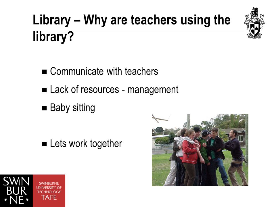 Library – Why are teachers using the library.