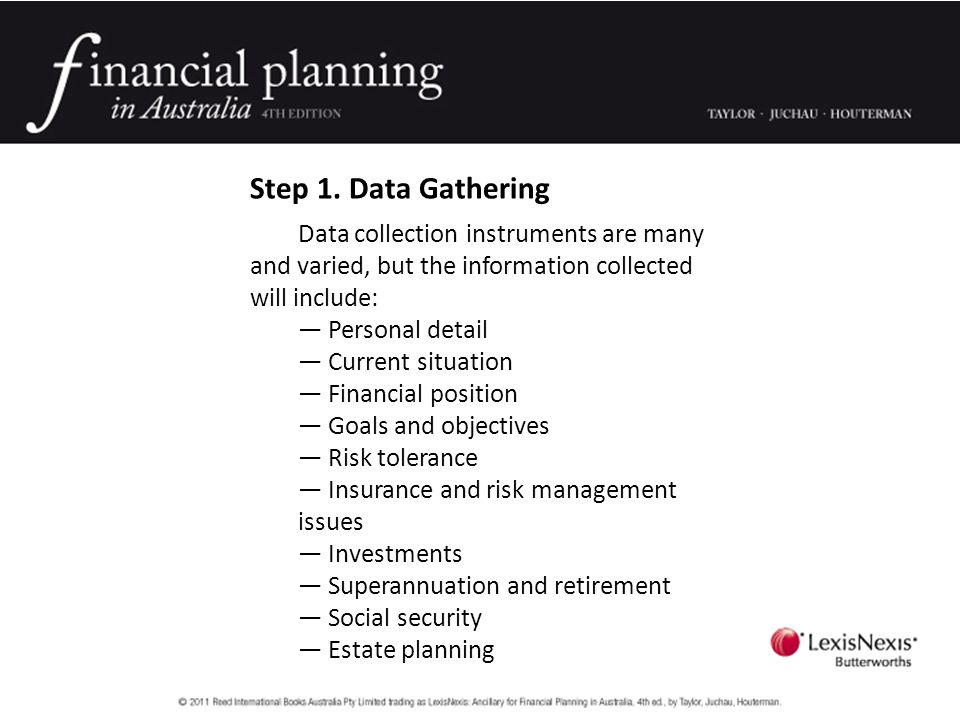 Step 1. Data Gathering Data collection instruments are many and varied, but the information collected will include: — Personal detail — Current situat