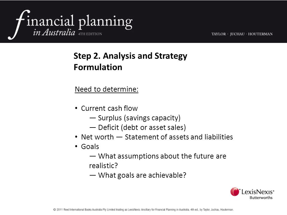 Step 2. Analysis and Strategy Formulation Need to determine: Current cash flow — Surplus (savings capacity) — Deficit (debt or asset sales) Net worth