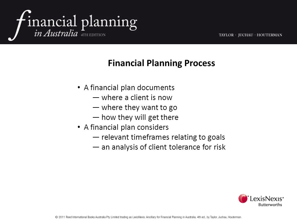 Financial Planning Process Planning must be collaborative — Client & adviser must determine whether and how an individual can meet stated life goals — The client position, the recommendations and implementation must be discussed, negotiated and agreed — The client is ultimately responsible for the success of the plan; proper management of financial resources is needed