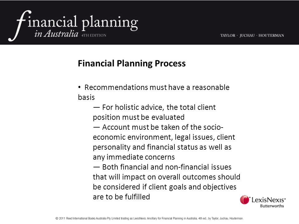 Financial Planning Process A holistic financial planning process involves six steps Step 1 — Gather data.
