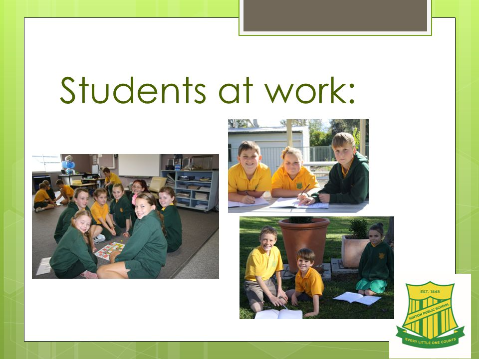 Students at work:
