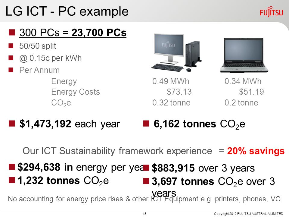 LG ICT - PC example 15 300 PCs = 23,700 PCs 50/50 split @ 0.15c per kWh Per Annum Energy0.49 MWh0.34 MWh Energy Costs$73.13$51.19 CO 2 e0.32 tonne0.2 tonne $1,473,192 each year Our ICT Sustainability framework experience = 20% savings $294,638 in energy per year 1,232 tonnes CO 2 e No accounting for energy price rises & other ICT Equipment e.g.
