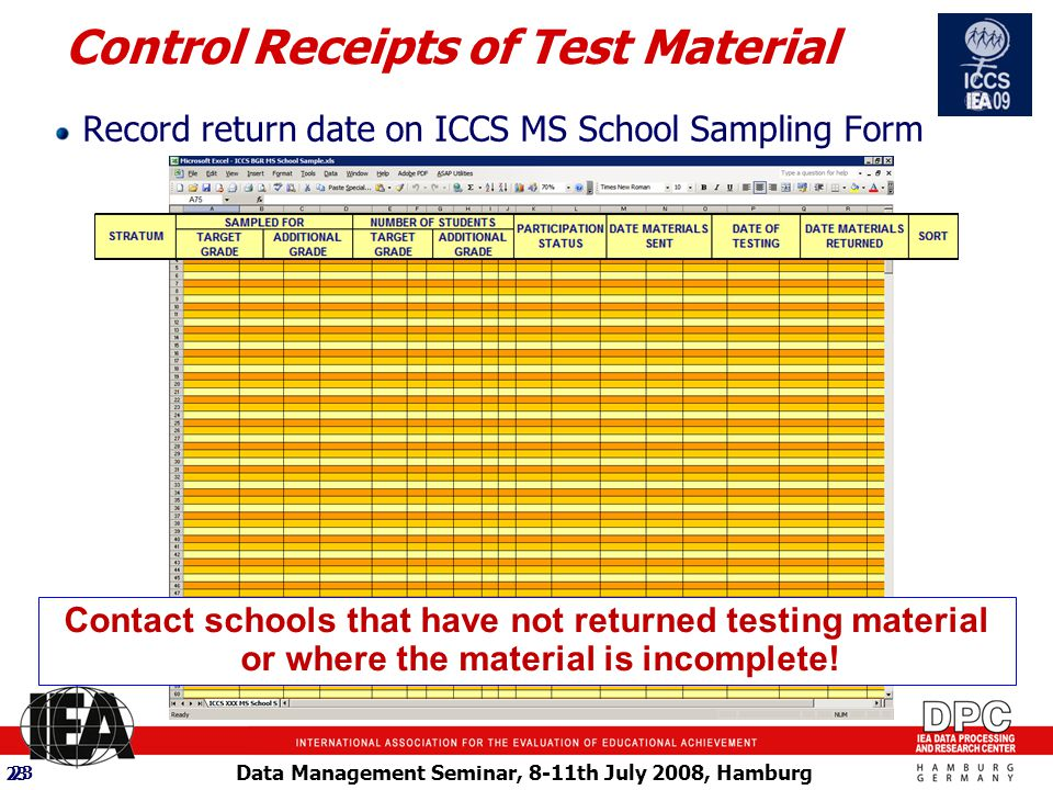 Data Management Seminar, 8-11th July 2008, Hamburg 23 Control Receipts of Test Material Record return date on ICCS MS School Sampling Form 23 Contact schools that have not returned testing material or where the material is incomplete!