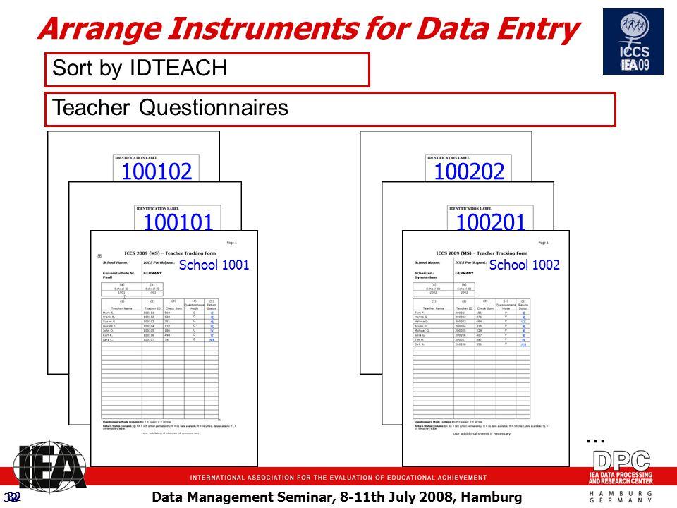 Data Management Seminar, 8-11th July 2008, Hamburg 32 100102 Teacher Questionnaires Sort by IDTEACH...