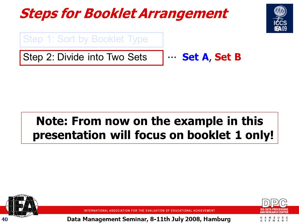 Data Management Seminar, 8-11th July 2008, Hamburg 40 Step 2: Divide into Two Sets...