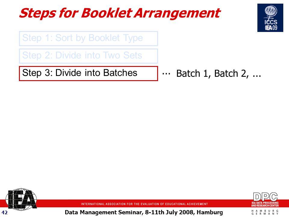 Data Management Seminar, 8-11th July 2008, Hamburg 42 Step 3: Divide into Batches...