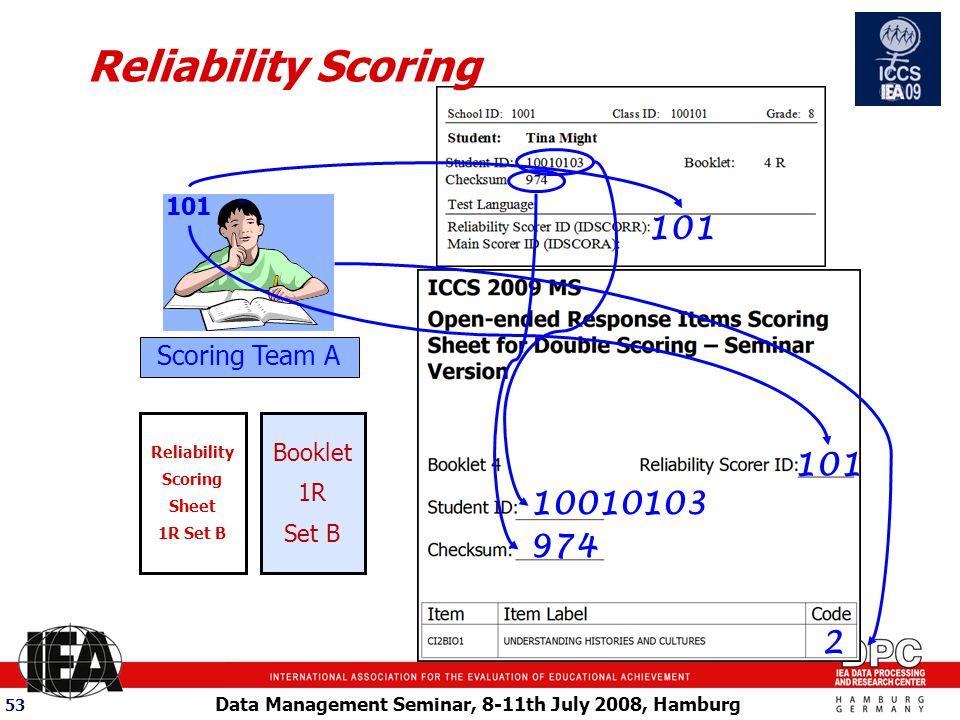 Data Management Seminar, 8-11th July 2008, Hamburg 53 101 Booklet 1R Set B Reliability Scoring 101 10010103 974 2 Scoring Team A Reliability Scoring Sheet 1R Set B