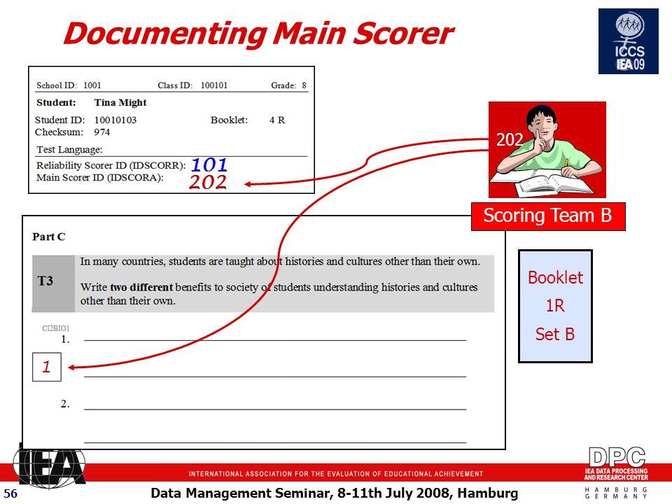 Data Management Seminar, 8-11th July 2008, Hamburg 56 Scoring Team B 101 Documenting Main Scorer 202 Booklet 1R Set B 202 1