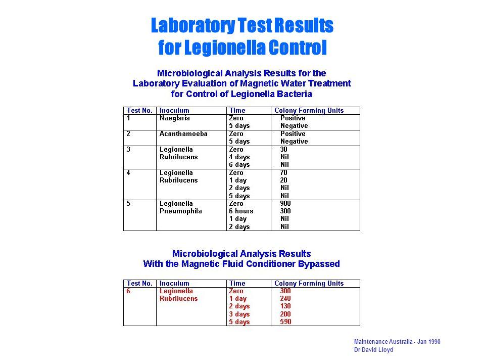 Laboratory Test Results for Legionella Control Maintenance Australia - Jan 1990 Dr David Lloyd