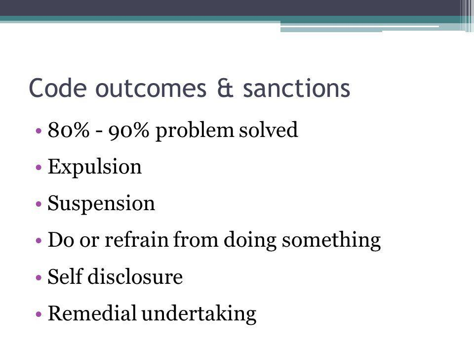 Code outcomes & sanctions 80% - 90% problem solved Expulsion Suspension Do or refrain from doing something Self disclosure Remedial undertaking