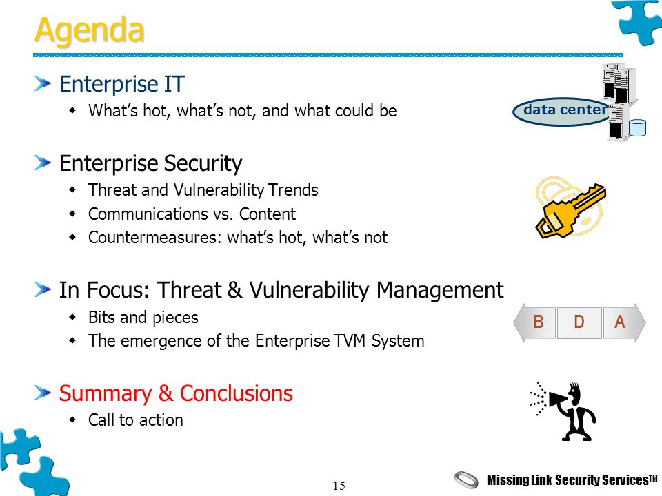 Missing Link Security Services TM 15Agenda Enterprise IT  What's hot, what's not, and what could be Enterprise Security  Threat and Vulnerability Trends  Communications vs.