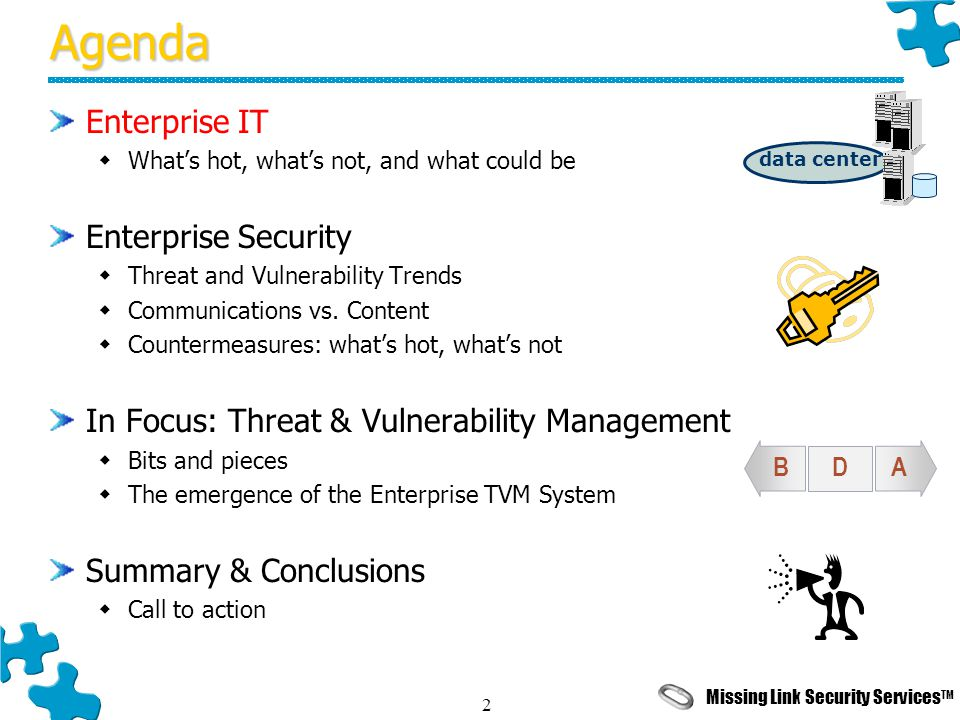 Missing Link Security Services TM 2Agenda Enterprise IT  What's hot, what's not, and what could be Enterprise Security  Threat and Vulnerability Trends  Communications vs.