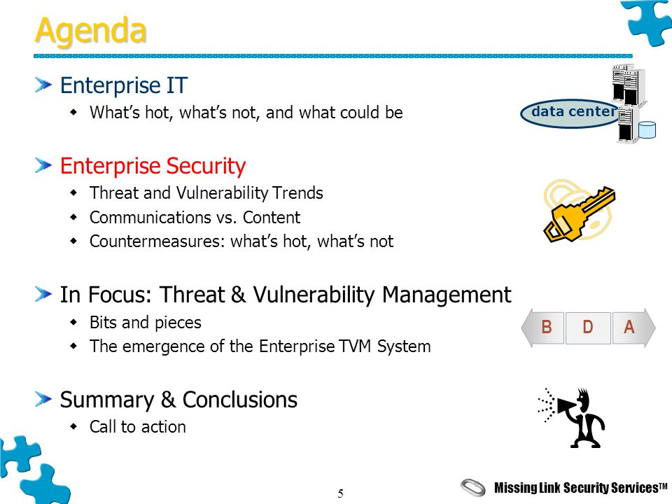 Missing Link Security Services TM 5Agenda Enterprise IT  What's hot, what's not, and what could be Enterprise Security  Threat and Vulnerability Trends  Communications vs.