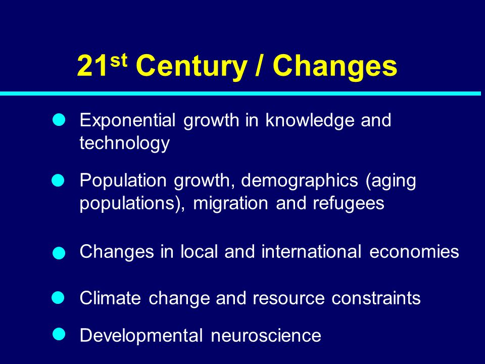 21 st Century / Changes Exponential growth in knowledge and technology Population growth, demographics (aging populations), migration and refugees Cha
