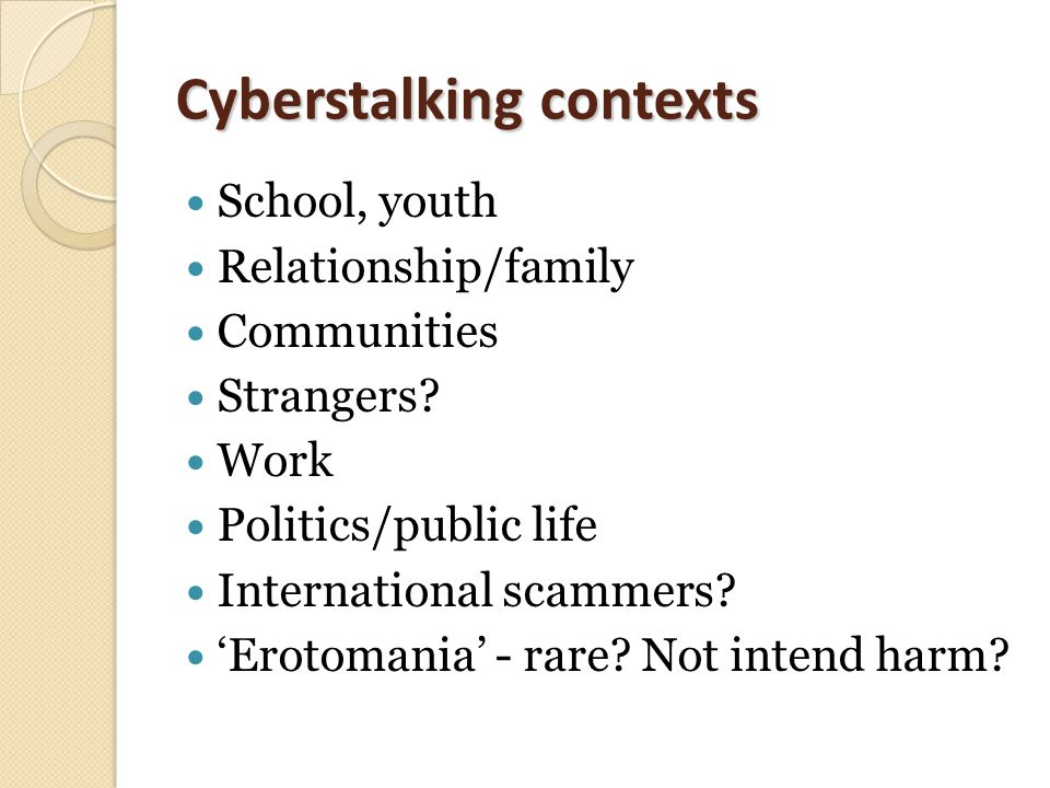 Cyberstalking contexts School, youth Relationship/family Communities Strangers.