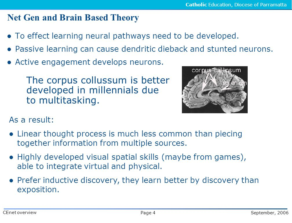 Catholic Education, Diocese of Parramatta Page 4 September, 2006 CEnet overview Net Gen and Brain Based Theory To effect learning neural pathways need to be developed.