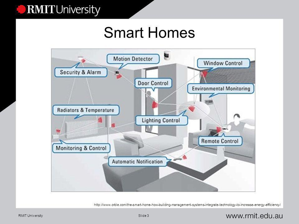 RMIT UniversitySlide 3 Smart Homes http://www.orble.com/the-smart-home-how-building-management-systems-integrate-technology-to-increase-energy-efficie