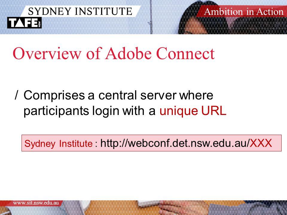 Ambition in Action www.sit.nsw.edu.au Overview of Adobe Connect /Comprises a central server where participants login with a unique URL Sydney Institute : http://webconf.det.nsw.edu.au/XXX