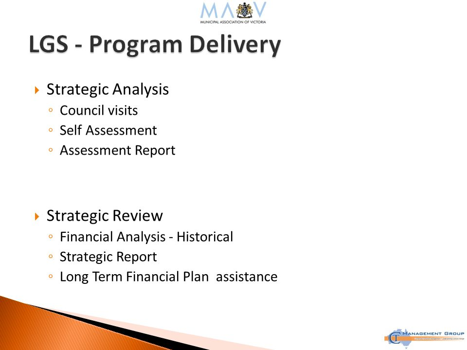  Strategic Analysis ◦ Council visits ◦ Self Assessment ◦ Assessment Report  Strategic Review ◦ Financial Analysis - Historical ◦ Strategic Report ◦ Long Term Financial Plan assistance
