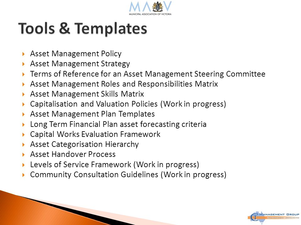  Asset Management Policy  Asset Management Strategy  Terms of Reference for an Asset Management Steering Committee  Asset Management Roles and Responsibilities Matrix  Asset Management Skills Matrix  Capitalisation and Valuation Policies (Work in progress)  Asset Management Plan Templates  Long Term Financial Plan asset forecasting criteria  Capital Works Evaluation Framework  Asset Categorisation Hierarchy  Asset Handover Process  Levels of Service Framework (Work in progress)  Community Consultation Guidelines (Work in progress)