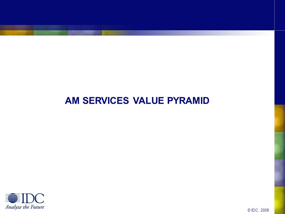 © IDC, 2008 AM SERVICES VALUE PYRAMID