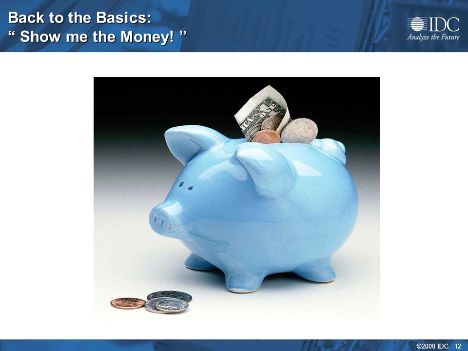 ©2008 IDC 12 Back to the Basics: Show me the Money!