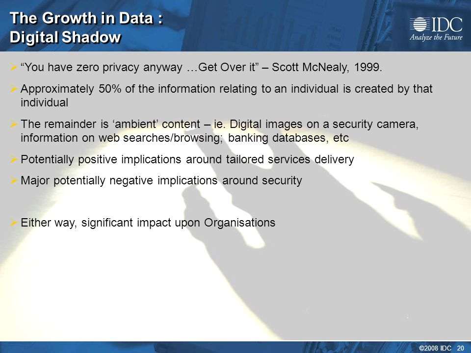 ©2008 IDC 20 The Growth in Data : Digital Shadow  You have zero privacy anyway …Get Over it – Scott McNealy, 1999.
