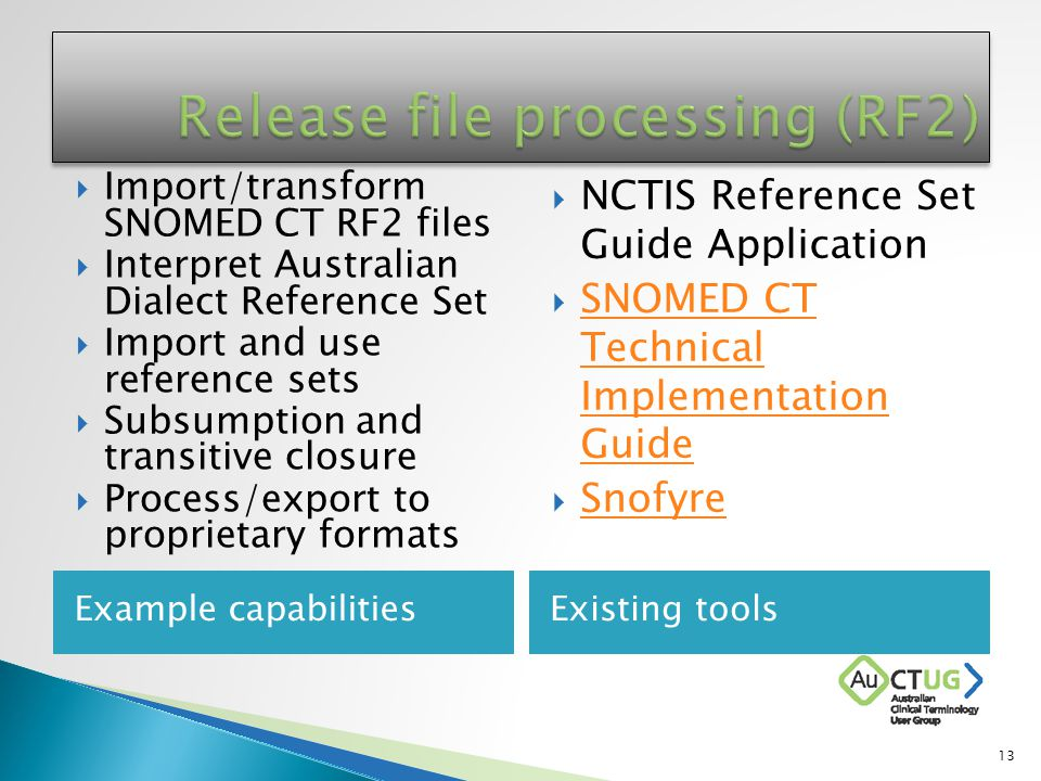 Example capabilitiesExisting tools  Import/transform SNOMED CT RF2 files  Interpret Australian Dialect Reference Set  Import and use reference sets  Subsumption and transitive closure  Process/export to proprietary formats  NCTIS Reference Set Guide Application  SNOMED CT Technical Implementation Guide SNOMED CT Technical Implementation Guide  Snofyre Snofyre 13