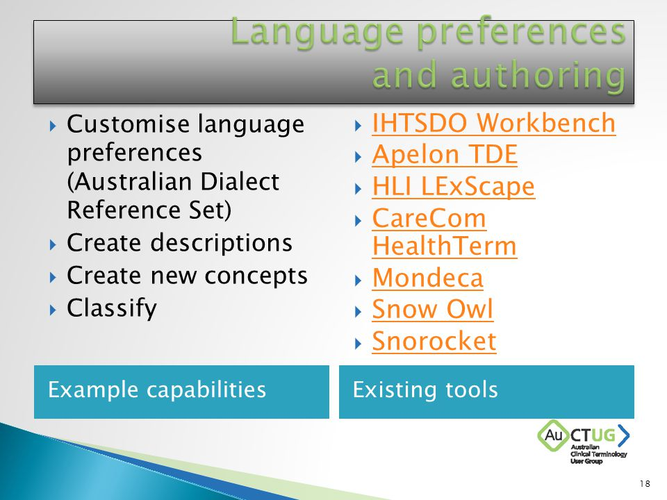 Example capabilitiesExisting tools  Customise language preferences (Australian Dialect Reference Set)  Create descriptions  Create new concepts  Classify  IHTSDO Workbench IHTSDO Workbench  Apelon TDE Apelon TDE  HLI LExScape HLI LExScape  CareCom HealthTerm CareCom HealthTerm  Mondeca Mondeca  Snow Owl Snow Owl  Snorocket Snorocket 18