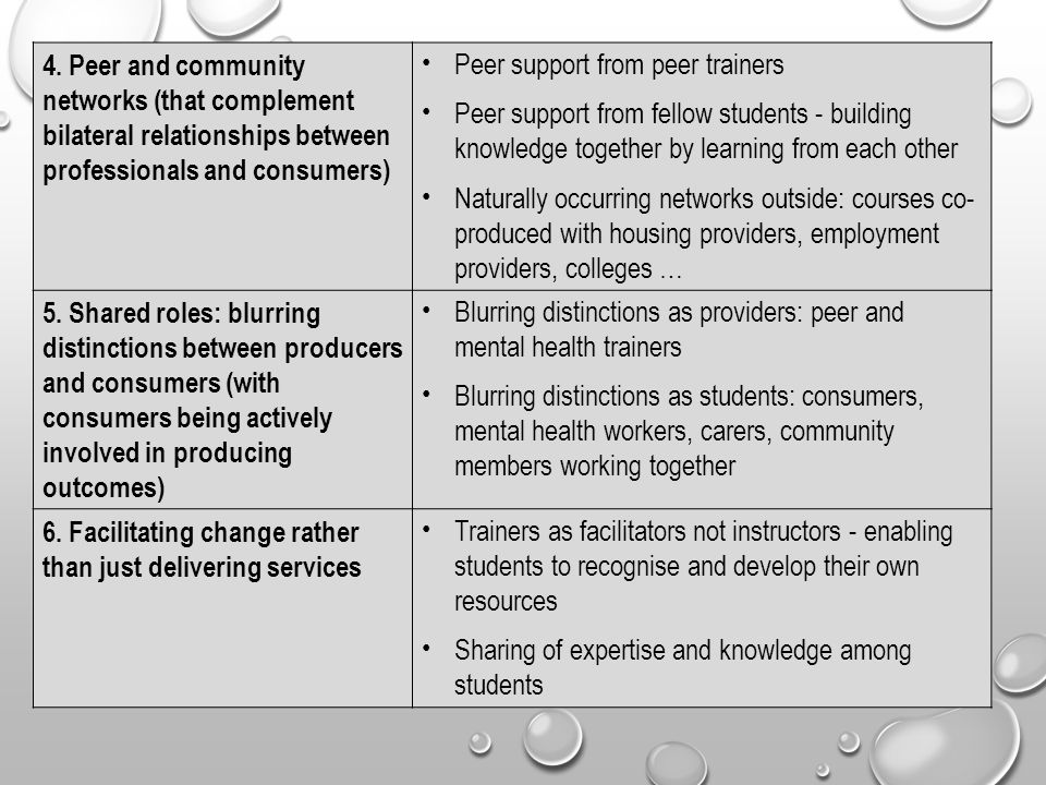 4. Peer and community networks (that complement bilateral relationships between professionals and consumers) Peer support from peer trainers Peer supp