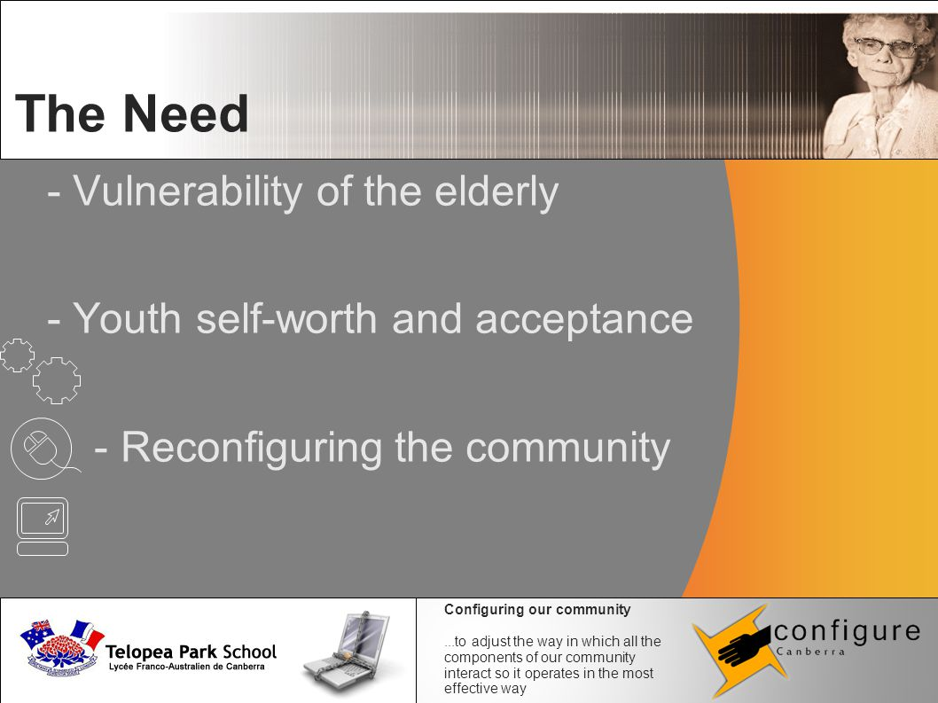 - Vulnerability of the elderly - Youth self-worth and acceptance - Reconfiguring the community The Need Configuring our community...to adjust the way in which all the components of our community interact so it operates in the most effective way
