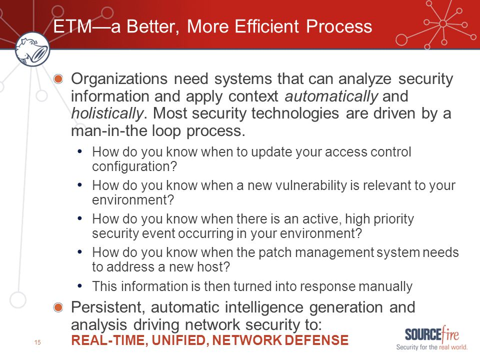 15 ETM—a Better, More Efficient Process Organizations need systems that can analyze security information and apply context automatically and holistica