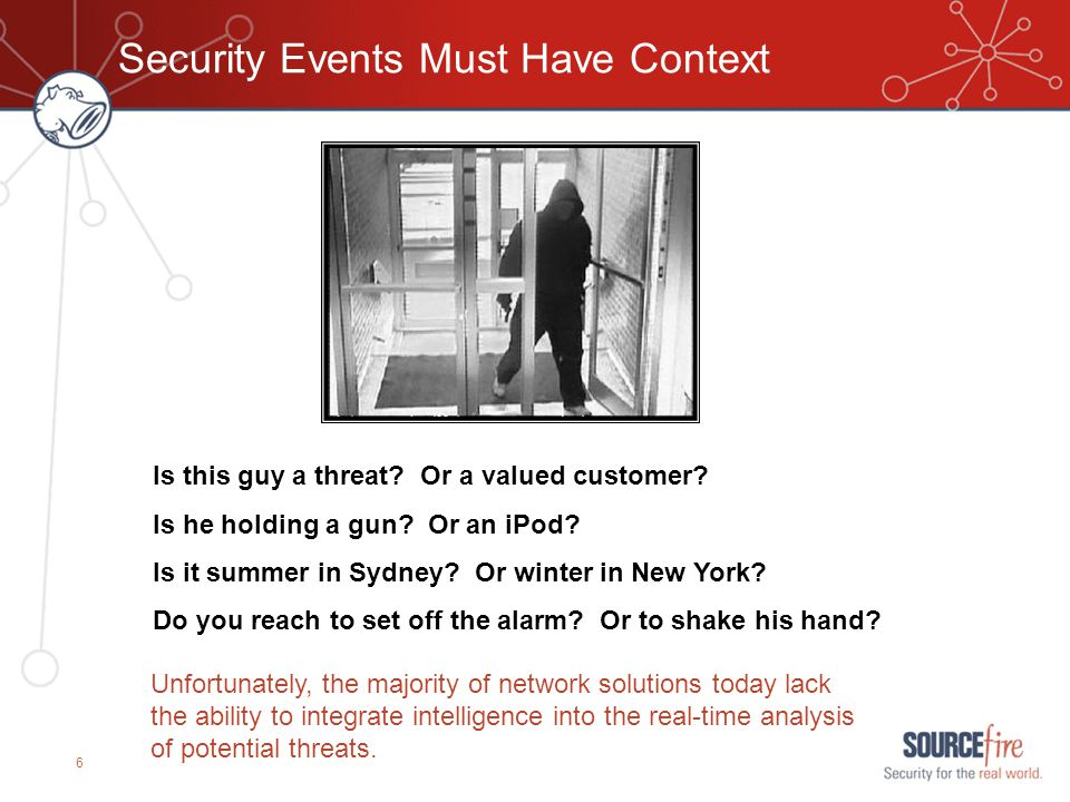 6 Security Events Must Have Context Is this guy a threat? Or a valued customer? Is he holding a gun? Or an iPod? Is it summer in Sydney? Or winter in