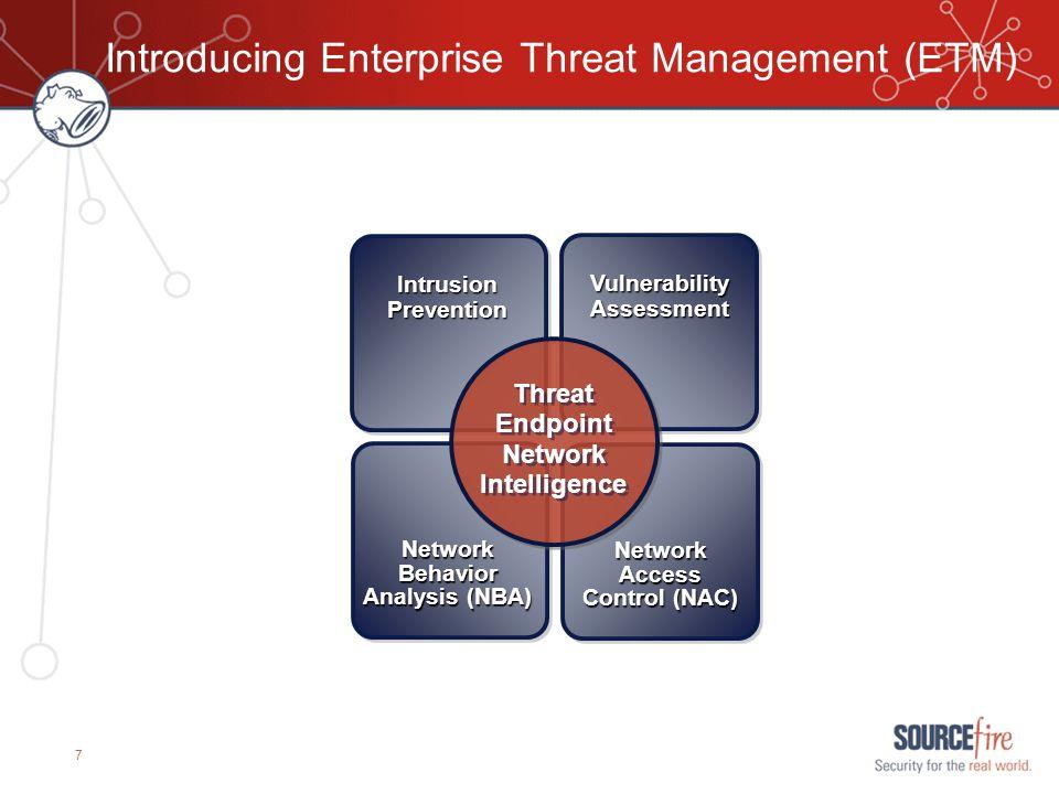 7 Introducing Enterprise Threat Management (ETM) IntrusionPrevention VulnerabilityAssessment NetworkBehavior Analysis (NBA) NetworkAccess Control (NAC