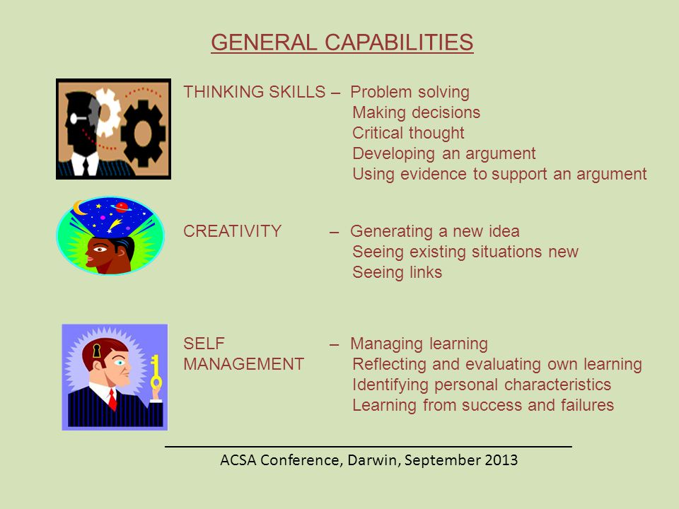 THINKING SKILLS – Problem solving Making decisions Critical thought Developing an argument Using evidence to support an argument CREATIVITY– Generating a new idea Seeing existing situations new Seeing links SELF – Managing learning MANAGEMENT Reflecting and evaluating own learning Identifying personal characteristics Learning from success and failures ________________________________________________ ACSA Conference, Darwin, September 2013 GENERAL CAPABILITIES
