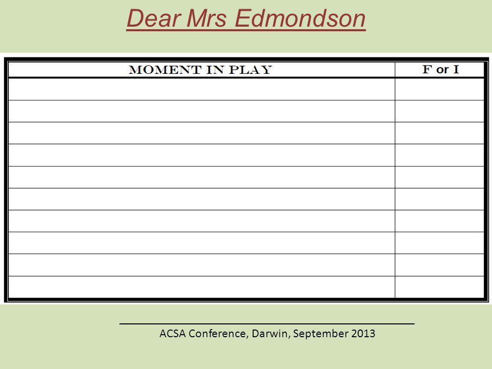 Dear Mrs Edmondson ________________________________________________ ACSA Conference, Darwin, September 2013