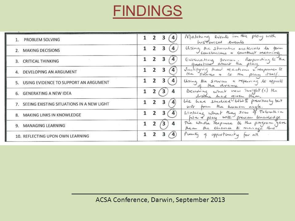 ________________________________________________ ACSA Conference, Darwin, September 2013 FINDINGS