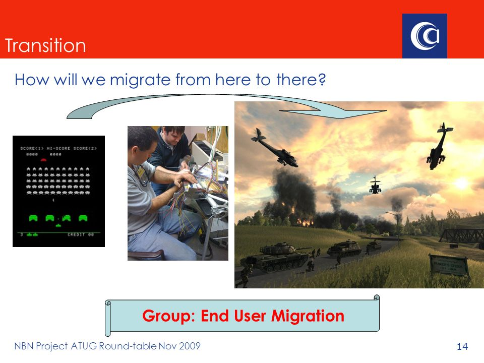 NBN Project ATUG Round-table Nov 200914 Transition How will we migrate from here to there.