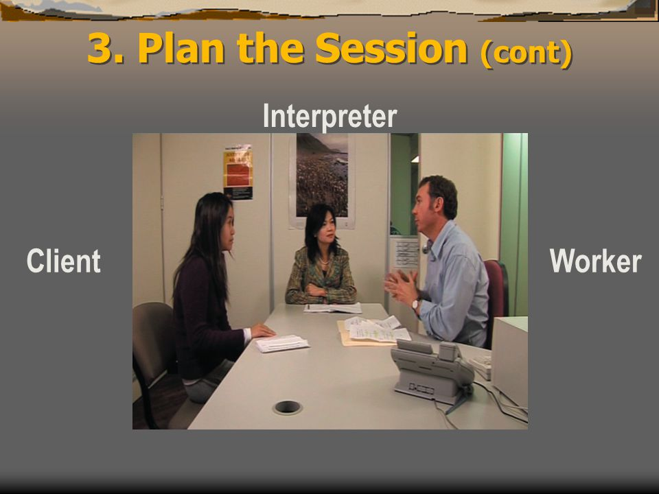 3. Plan the Session (cont) Interpreter ClientWorker