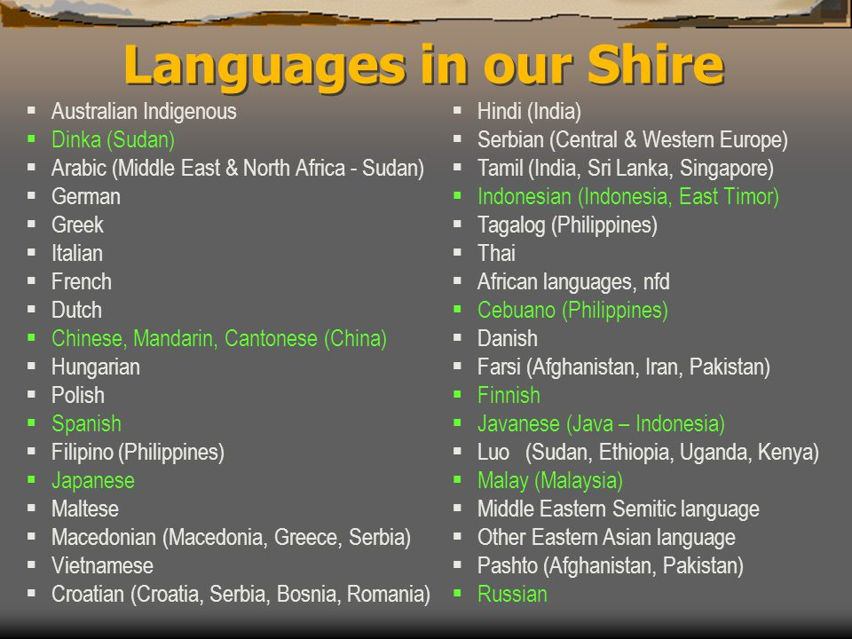  Australian Indigenous  Dinka (Sudan)  Arabic (Middle East & North Africa - Sudan)  German  Greek  Italian  French  Dutch  Chinese, Mandarin,