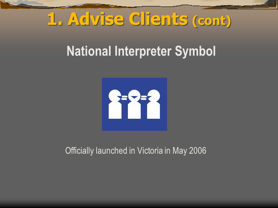 1. Advise Clients (cont) National Interpreter Symbol Officially launched in Victoria in May 2006